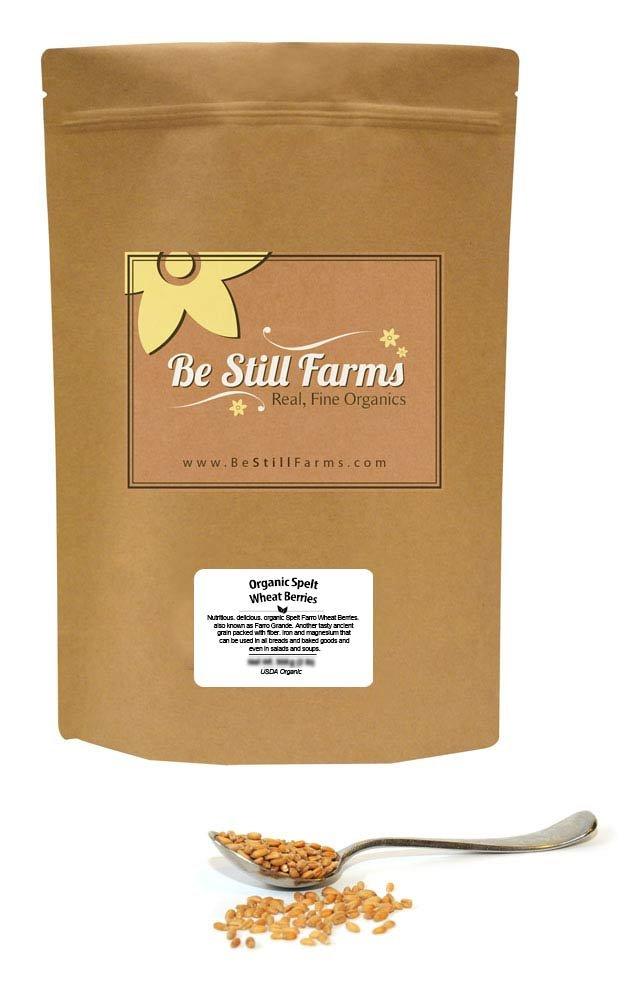 Be Still Farms Organic Spelt Wheat Berries (5lb) Grind Wheat to Organic Spelt Flour for Spelt Tortillas or Spelt Crackers - Use Whole Wheat Berries Organic to make Spelt Bread Organic - Ancient Grain