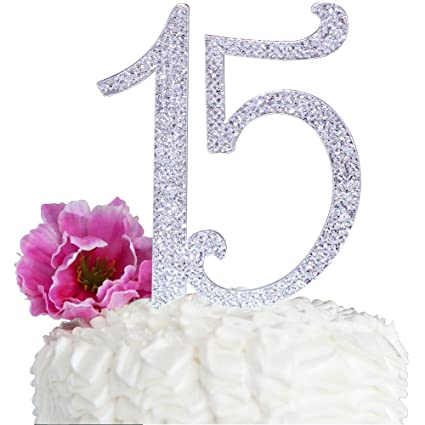 Amazon Quinceneara Sweet 15 Large Size Custom Rhinestone Numbers Birthday Cake Topper Bling Crystal Kitchen Dining