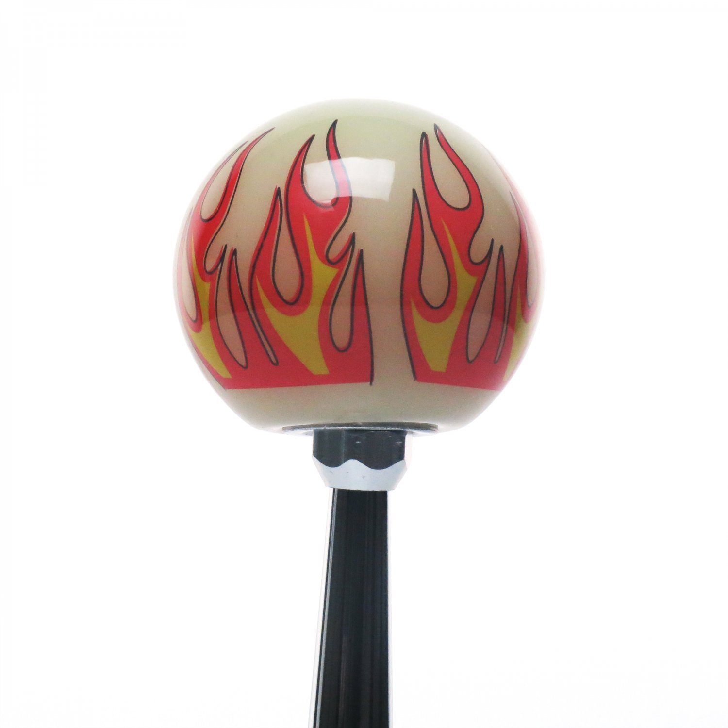 Orange 6 Speed Shift Pattern - Gas 20 Ivory Flame with M16 x 1.5 Insert American Shifter 293625 Shift Knob