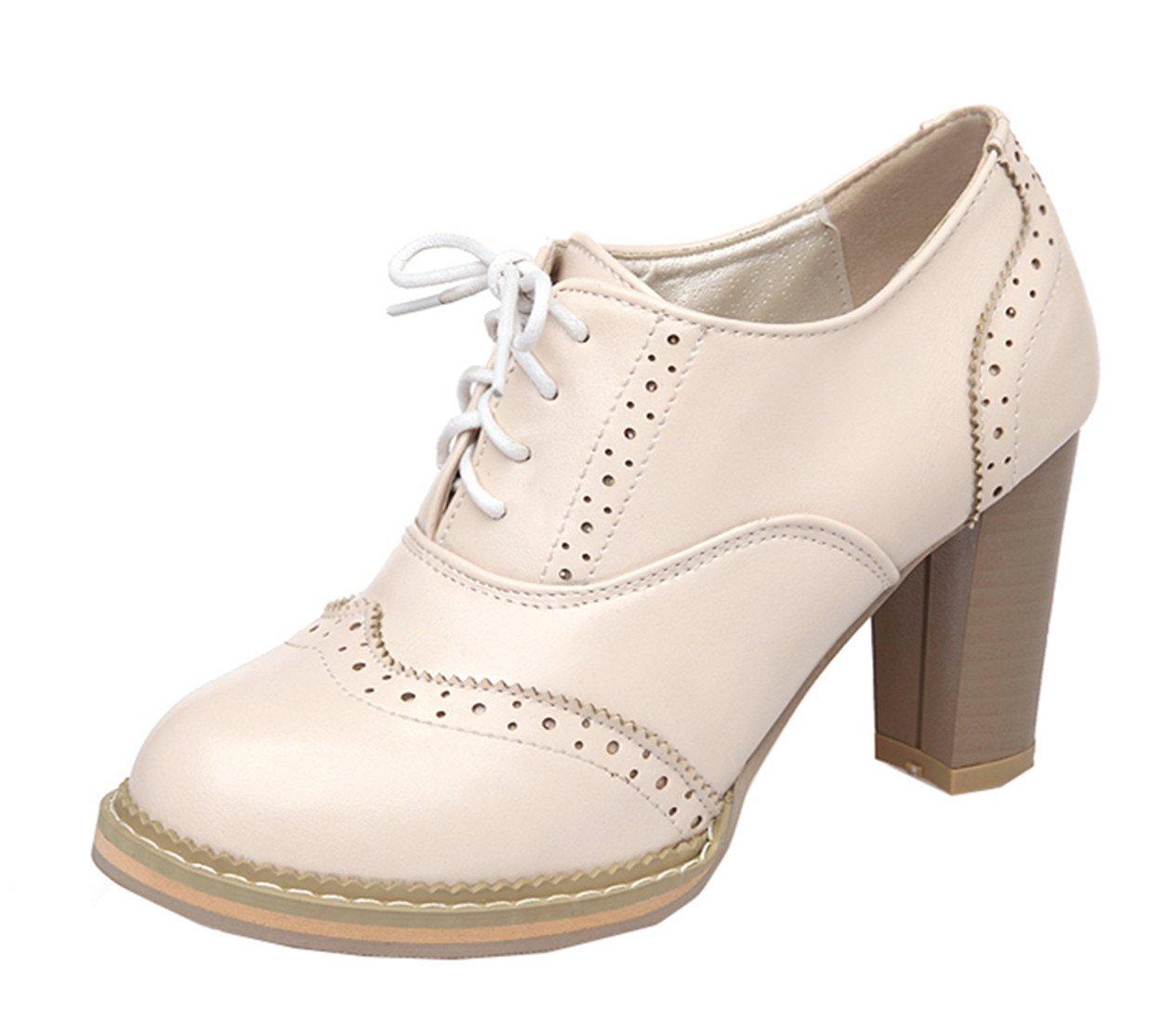 YE Damen High Heels Retro Suuml;szlig;e Geschlossene Zehe Pumps mit Blockabsatz Brogue Fruuml;hling Herbst Schnuuml;rhalbschuhe Casual Shoes37 EU|Beige