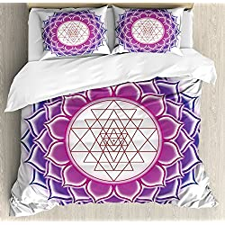 Ambesonne Lotus Duvet Cover Set King Size, Sacred Geometry Yantra Mandala with Triangle Figures Spiritual Yoga Illustration, Decorative 3 Piece Bedding Set with 2 Pillow Shams, Fuchsia Purple