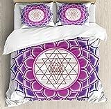 Ambesonne Lotus Duvet Cover Set King Size, Sacred Geometry Yantra Mandala with Triangle Figures Spiritual Yoga Illustration, Decorative 3 Piece Bedding Set with 2 Pillow Shams, Fuchsia Purple