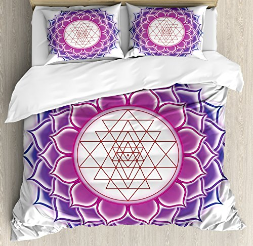 Ambesonne Lotus Duvet Cover Set King Size, Sacred Geometry Yantra Mandala with Triangle Figures Spiritual Yoga Illustration, Decorative 3 Piece Bedding Set with 2 Pillow Shams, Fuchsia (Fuchsia Quilt Fabric)