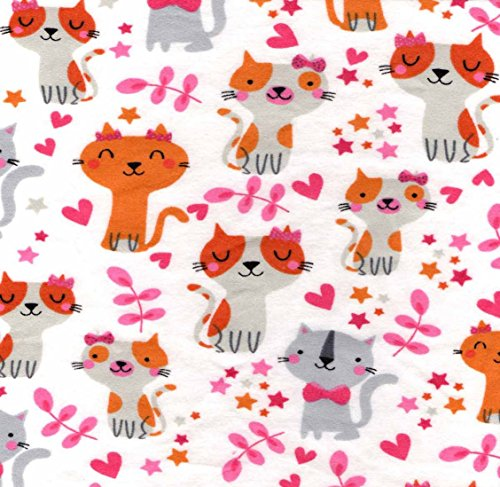 Flannel Fabric Hearts - Cat Fabric - FLANNEL - Cuddle Flannel - Cats, Hearts, and Stars - 100% Cotton Flannel - By the Yard