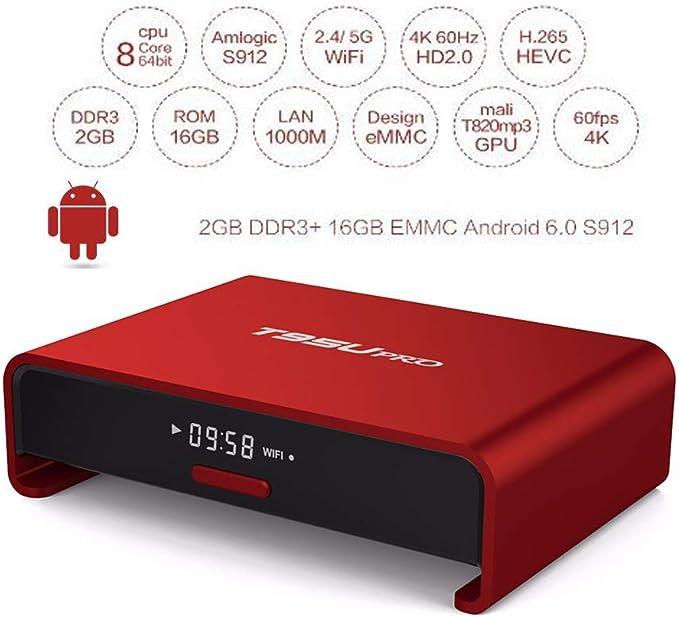 Android TV Box, Android 9.0 TV Box Octa Core 2 GB Ram16gb ROM Dual WiFi 2.4G / 5G Bluetooth HD 4K WiFi HD Media Player USB 3.0 Smart TV Box: Amazon.es: Hogar