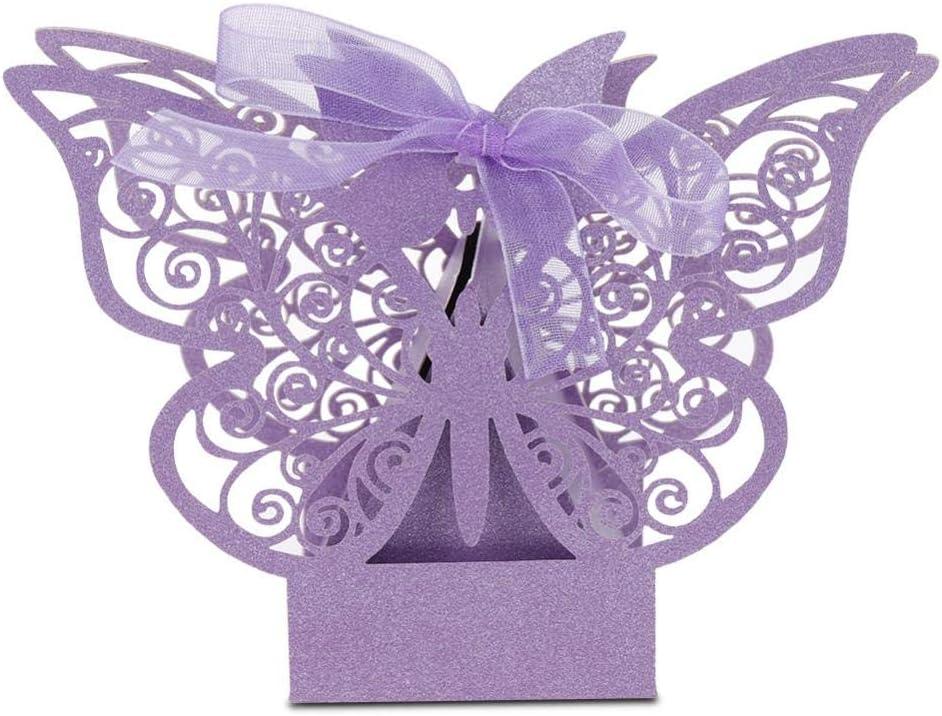 100 cajas huecas para decoración de boda, para bodas, cumpleaños, fiestas, regalos de novia, tarjetas de amor, jaula de corazón, cajas de regalo de boda, bautizo, fiesta (morado)
