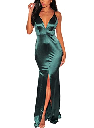 d3e542804077 Paitluc Women V Neck Wrap Crisscross Slit Mermaid Maxi Long Evening ...