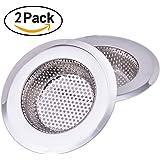 2er-Set Edelstahl Abfluss-Sieb, 70 mm Durchmesser Waschbeckensieb Ideal für Küche und Bad,Schützt vor Schutz vor Rohrverstopfung
