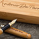 Fountain Pen Calligraphy Writing Set by Antonio Da Parra - Handcrafted Bamboo Vintage Collection with Ink Refill Converter