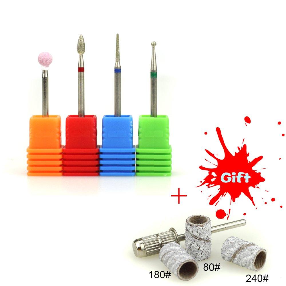 NMKL 4PCS Cuticle Clean Nail Drill Bit Set Electric Rotatory Nail File Bit Manicure Pedicure Tools