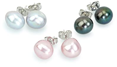 Sakura Pearl High Lustre Multi-Coloured 8.0-8.5 mm Baroque Freshwater Pearl Sterling Silver 925 Earrings c8OxcaIa1