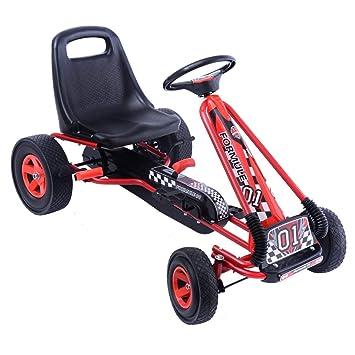 COSTWAY Go Kart Racing para Niños Coche de Pedal Asiento Ajustable con Ruedas de Goma Embrague
