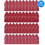 AUSTOR 80 Pieces Mouse Detail Sander Sandpaper Sanding Paper Hook and Loop Assorted 60/ 80/ 120/ 240 Grits