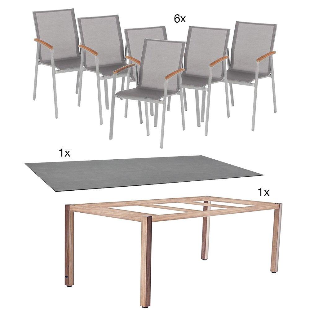 Tischgestell aus Teakholz 180x100 cm beton mit 6 Stapelsessel Top, Gestell graphit silbergrau