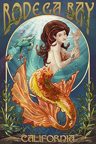 Bodega Bay, California - Mermaid (9x12 Art Print, Wall Decor Travel Poster)