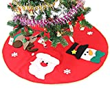Slocyclub Red Embroidered Christmas Tree Skirt Xmas Tree Ornaments Party Decoration 39 Inch Diameter With Santa Claus Snowman Reindeer Semi-stereoscopic