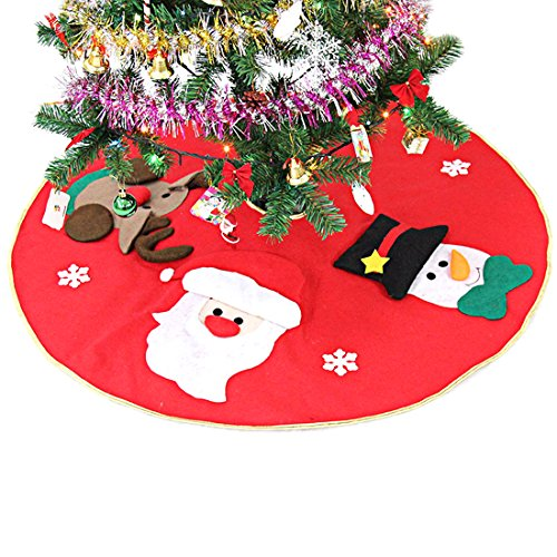 Slocyclub Red Embroidered Christmas Tree Skirt Xmas Tree Ornaments Party Decoration 39 Inch Diameter With Santa Claus Snowman Reindeer Semi-stereoscopic (Christmas Skirt Wicker Tree)