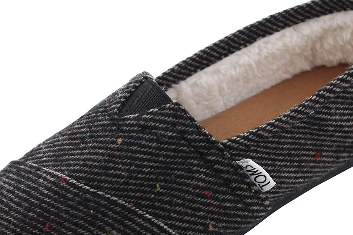 Toms Rope Sole 1019B09R, Espadrillas Donna Blk Speckled Wool Shearling