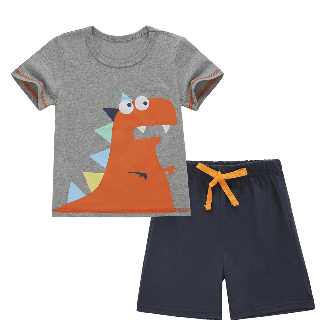 ChicNChic Baby Boys Toddler Summer Clothes Dinosaur T-Shirt with Short Pants Outfits Set (24M(18-24M), Grey)
