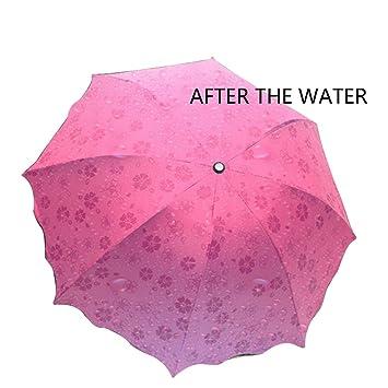 Plegable Paraguas Magical Bloom flores en agua de lluvia Fashion Exquisite viento sombrilla para mujer Chica