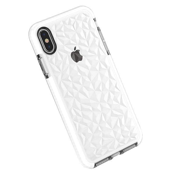Funda iPhone X/XS/XS MAX, Carcasa Silicona Transparente Protector TPU Airbag Anti-Choque Ultra-Delgado Anti-arañazos Case 3D Modelo Geométrico de ...