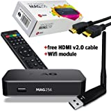 MAG 256 Latest Original Linux IPTV/OTT Box - Fast Processor, faster than MAG 254-Genuine Original Box From Infomir With Wi-Fi Dongle