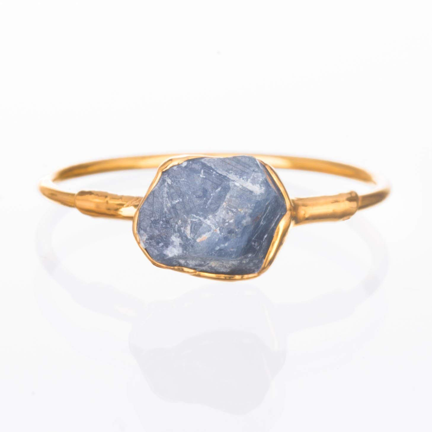 Raw Sapphire Ring, Size 7, September Birthstone,14k Gold Filled