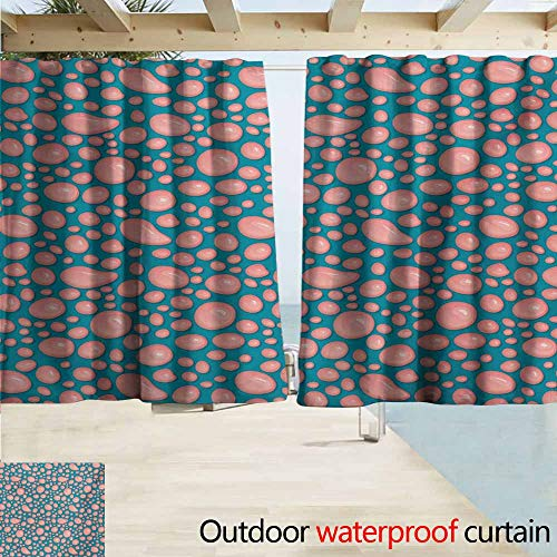 AndyTours Outdoor Patio Curtains,Pale Pink Drops and Round Splash of Bubble Gum on Blue Background in Cartoon Style,Drapes for Outdoor Decor,W55x72L Inches,Petrol Blue Coral