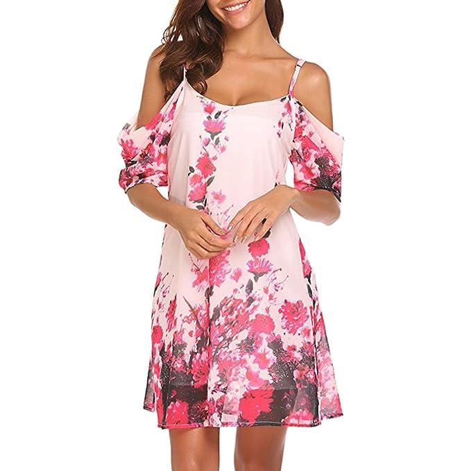 Longra Damen Schulterfrei Sommerkleider Blumendruck Kleid Schöne Kleider  Kurzarm Sommer Cold Shoulder Träger Keider Frauen Leicht a5ddd9eaa7
