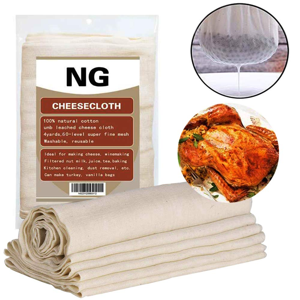 Unbleached Cheese Cloth Kitchen Rag Best Cooking Food Cheese Cloth Making Nut Milk Bag Filter Wine Making Roasted Turkish Holiday Decoration Dusting 60 Level 32 Square Feet Washable Reusable