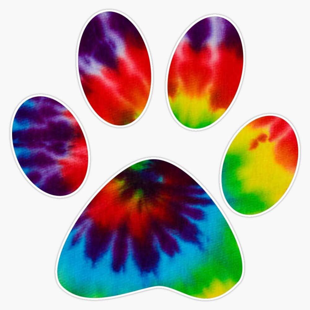 """EMC Graphics Tie Dye Paw Print Vinyl Waterproof Sticker Decal Car Laptop Wall Window Bumper Sticker 5"""""""