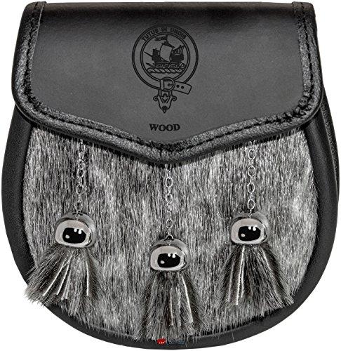 Wood Semi Dress Sporran Fur Plain Leather Flap Scottish Clan Crest