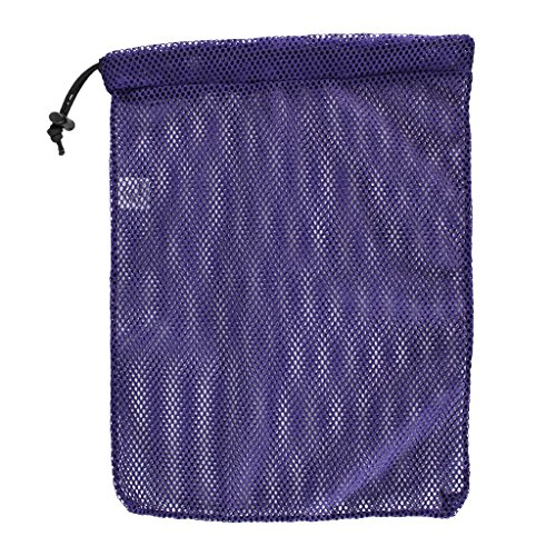 SGT KNOTS Mesh Bag USA Made (Small) 550 Paracord Drawstring Bag - Ventilated Washable Reusable Stuff Sack for Laundry, Gym Clothes, Swimming, Camping, Diving, Travel (12 inch x 15 inch - Purple)