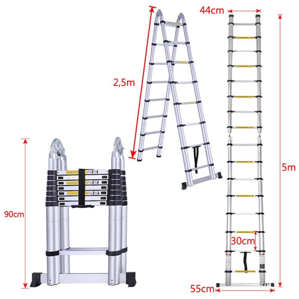 MCTECH/® Aluminium Teleskopleiter 3,8m klappbar Multifunktionsleiter Aluleiter Klappleiter 150 kg Belastbarkeit 3,8m klappbar
