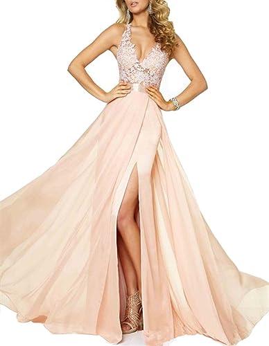 Emmani Women's Spaghetti V-neck Side Split Backless Long Prom Dresses