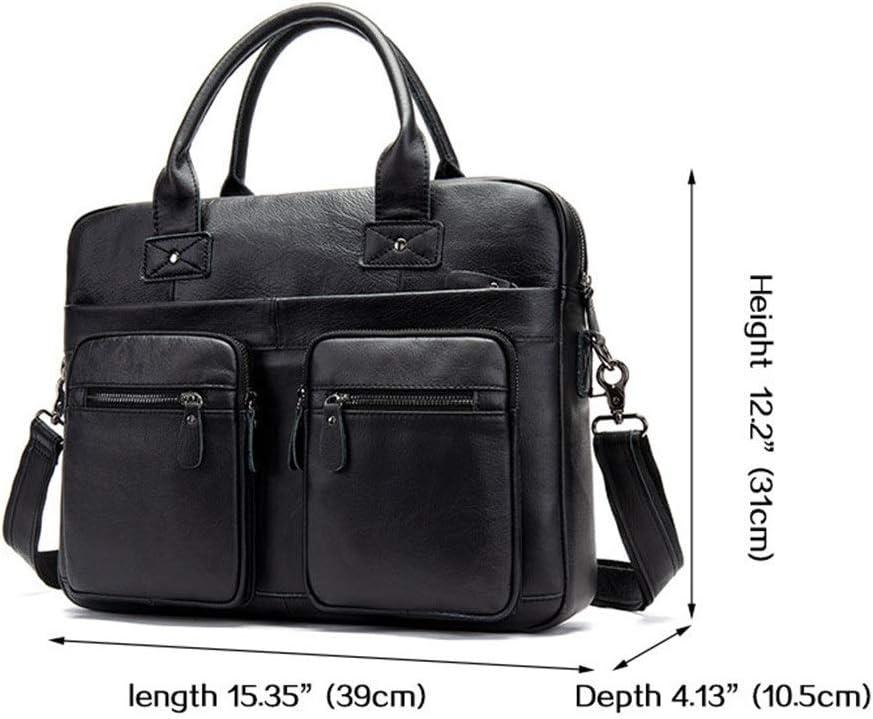 Color : Black , Size : 39x31x10.5cm Men Laptop Briefcase Bag Leather Mens Bag Europe And America Retro Mens Shoulder Bag Business Briefcase Messenger Bag 14 Inch Laptop Bag for School Travel