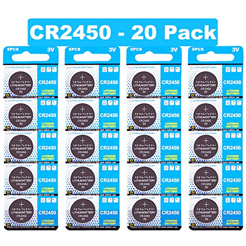 JOOBEF CR2450 Lithium 3V Battery, Electronic Coin Cell Button for Toys Calculators Watches (20 Pcs) Card Cmos Battery