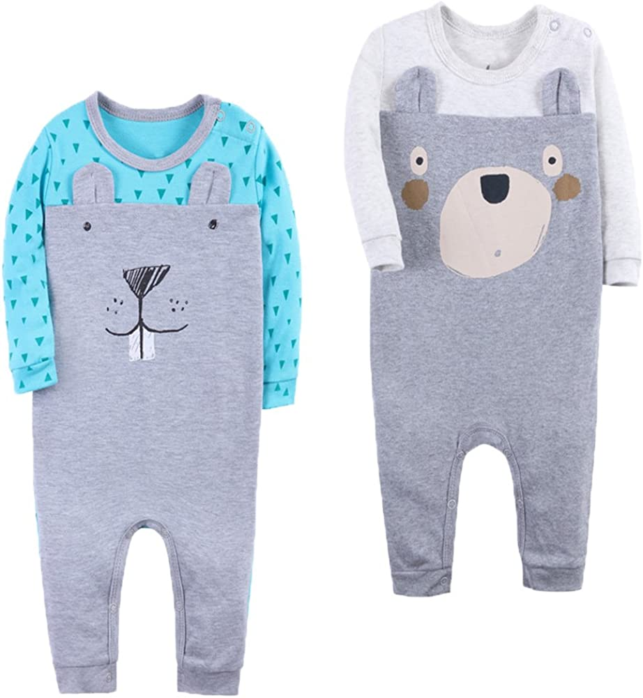 Monvecle Baby Boys 2 Pack Cotton Coverall Bodysuit One Piece Jumpsuit Romper