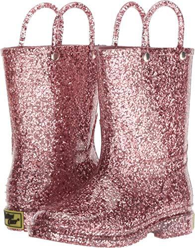 Western Chief Kids Girls' Glitter Waterproof Rain Boot, Rose Gold, 9 M US Toddler (Girls Western Shoes)