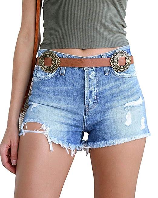 Vaqueros Cortos Mujer Rotos Pantalones Cortos de Mezclilla Jeans Shorts