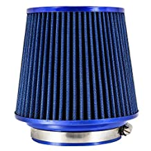 "TIROL Air Filter Round Tapered Universal Auto Cold Air Intake Adjustable Neck 3""-3.5""-4"" Blue"