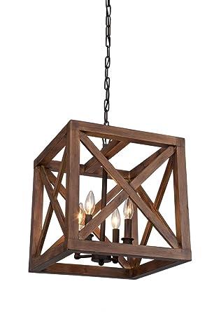 4 bulbs walnut collingwood chandelier wood pendant lamp lighting dia