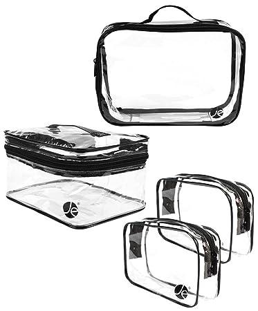 a43928ed433f Amazon.com : [4 PCS SET], JE Clear PVC Vinyl Multipurpose Cosmetic Makeup  Packing Carry On (2 x Small, 1 x Large, 1 x Medium Train) : Beauty