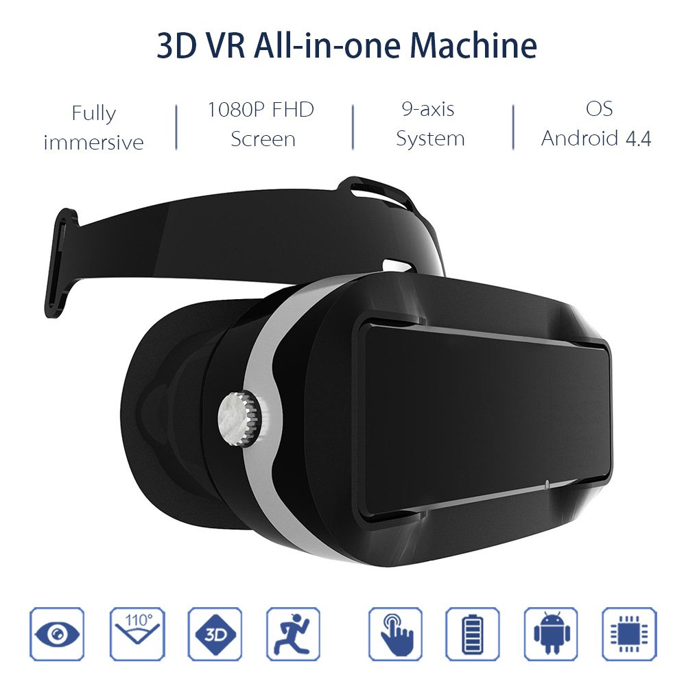 Docooler Virtual Reality Glasses VR All-in-one Machine 3D VR Headset 5.5Inch Touch Screen WiFi Bluetooth 4.0 w / Earphone Jack TF Card Slot US Plug by Docooler (Image #4)