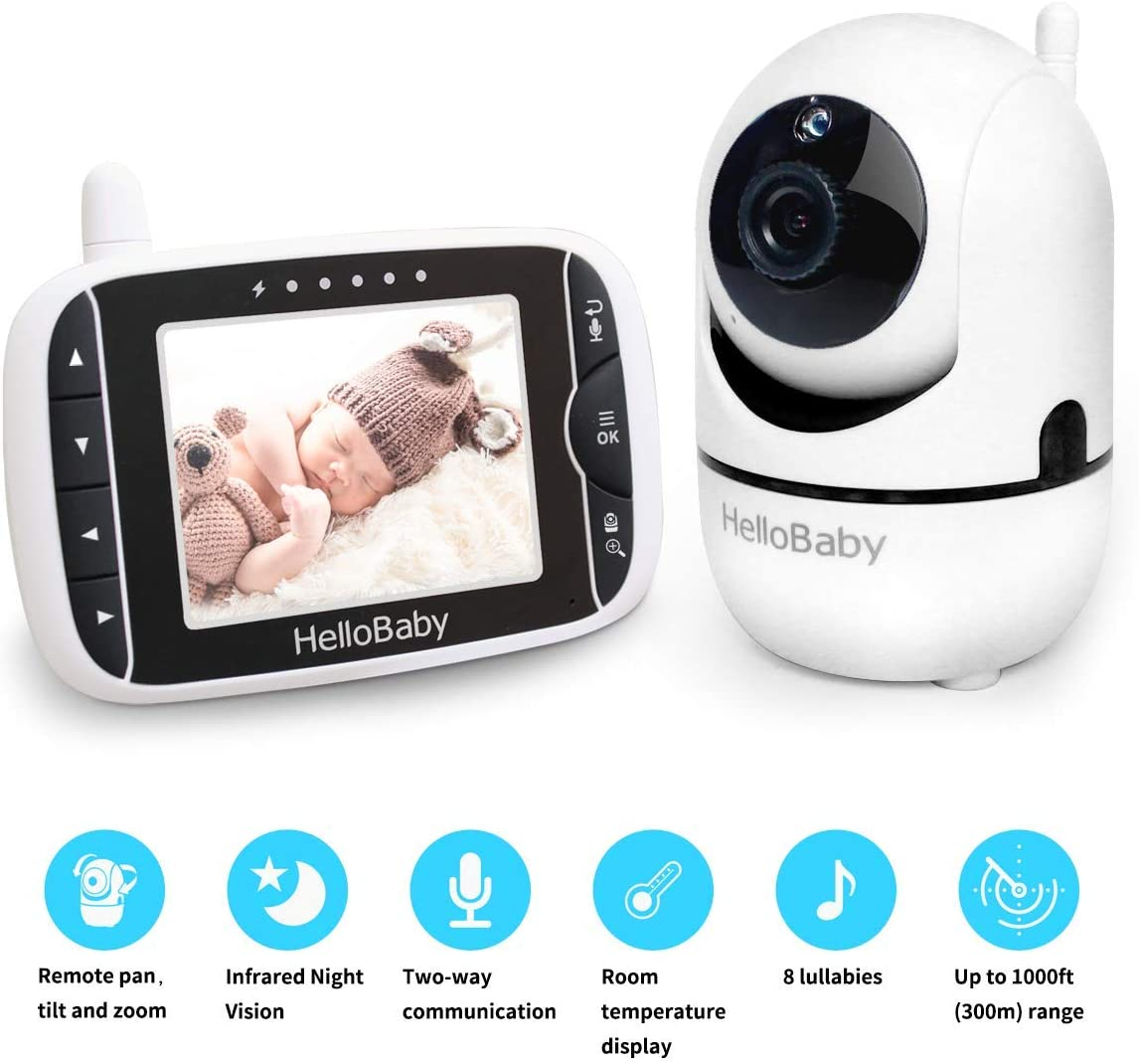 "Baby Monitor with Remote Pan-Tilt-Zoom Camera and 3.2"" LCD Screen, Infrared Night Vision (Black) 612NxCFVUwL"