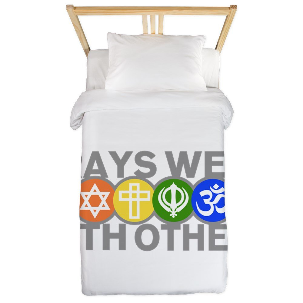 Twin Duvet Cover Prays Well With Others Peace Symbol by Royal Lion