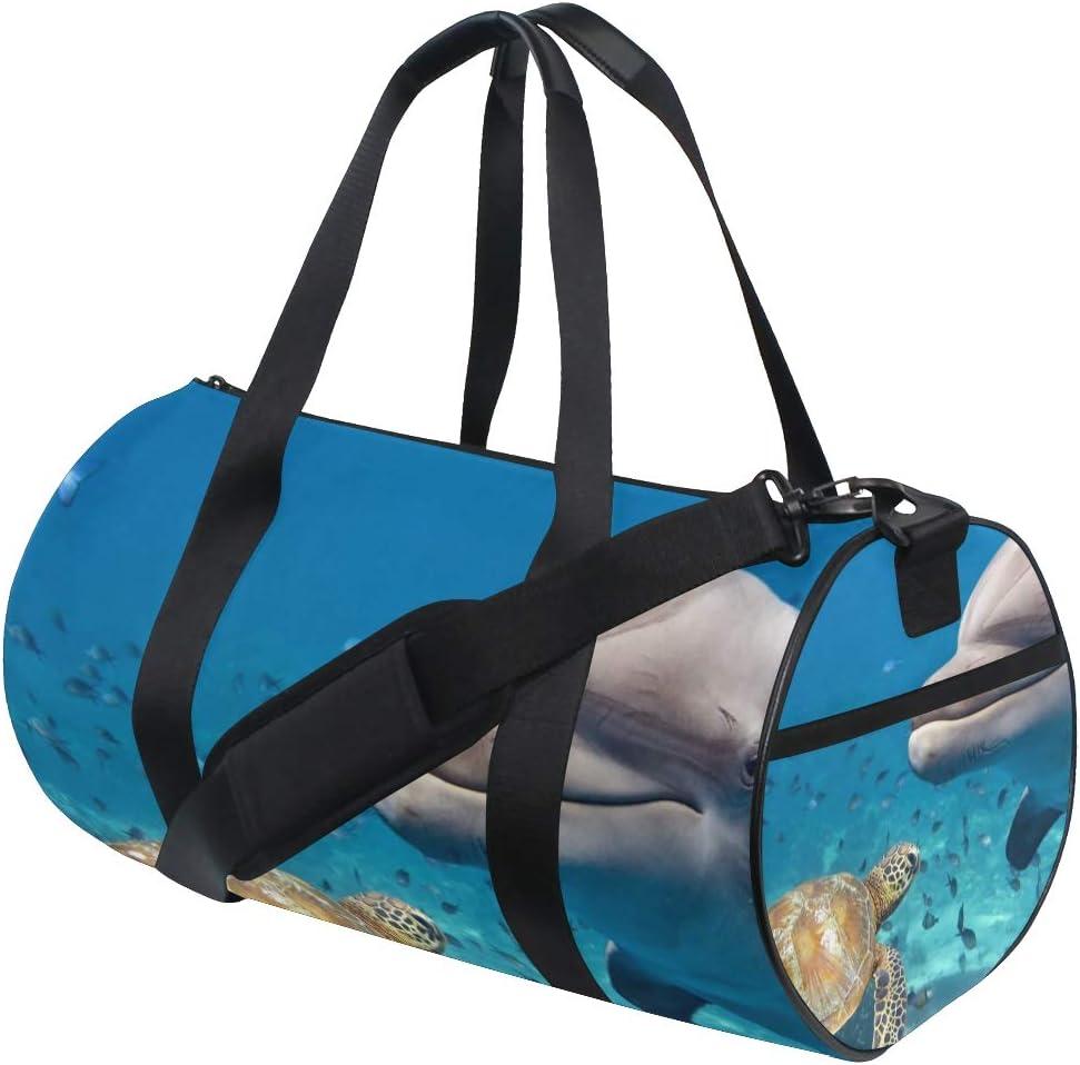 OuLian Gym Bag Cute Turtle Brown Women Canvas Duffel Bag Cute Sports Bag for Girls