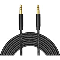 TERSELY 3.5mm Gold-Plated Auxiliary Audio Cable Aux Cord, 2M / 6FT Nylon Braided Male to Male for Headphones,Car Home…