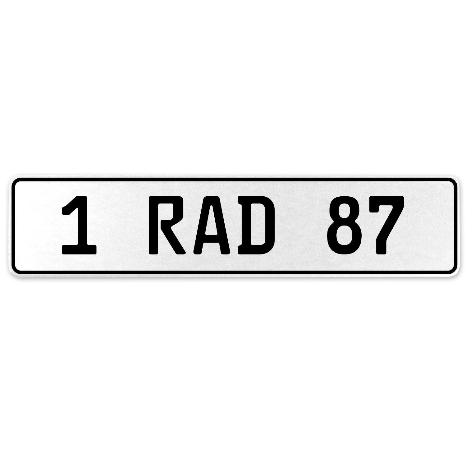 Vintage Parts 554090 1 RAD 87 White Stamped Aluminum European License Plate