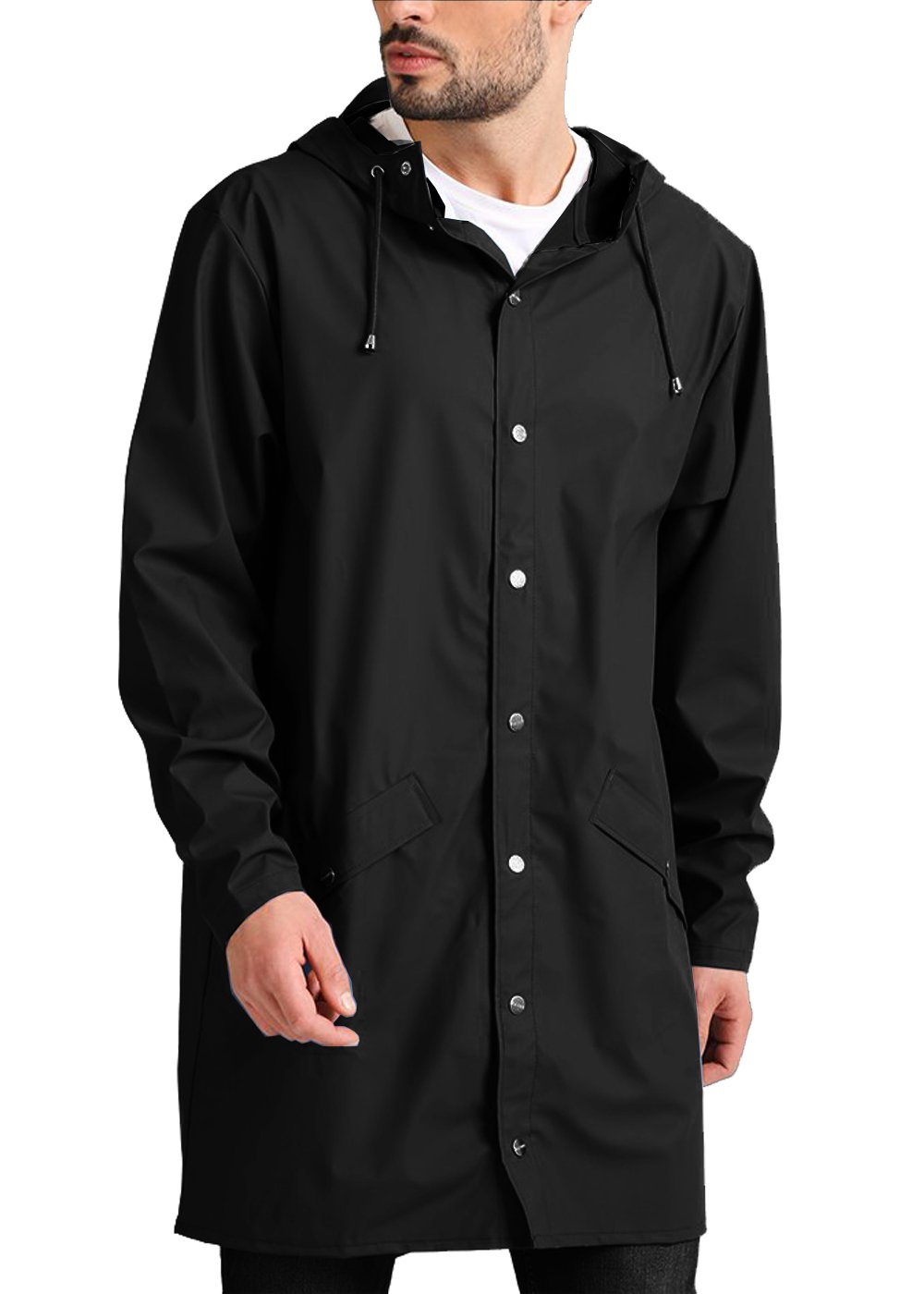 COOFANDY Men's Lightweight Waterproof Rain Jacket Packable Outdoor Hooded Long Raincoat,Black,X-Large